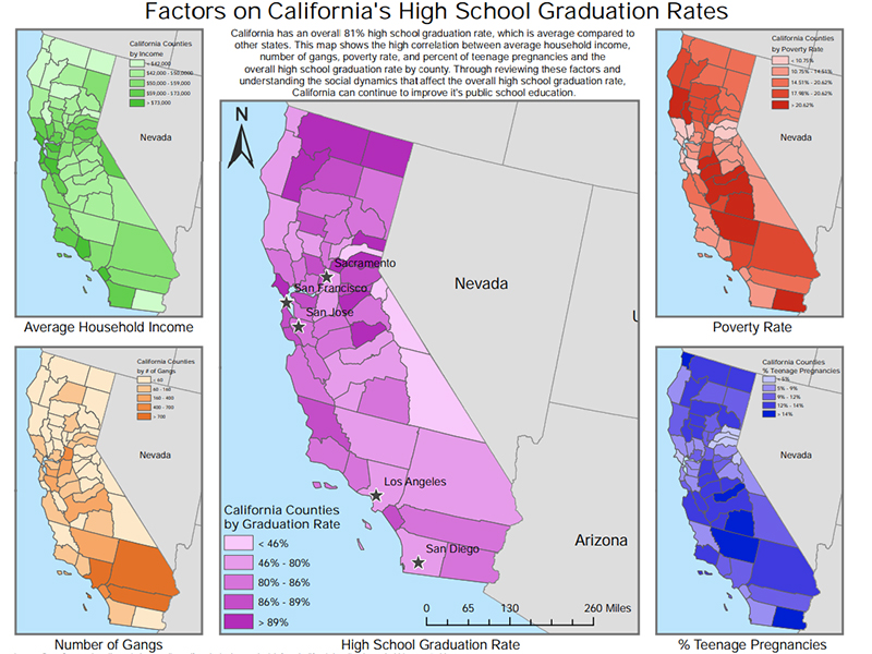 Example of student work includes a map of California