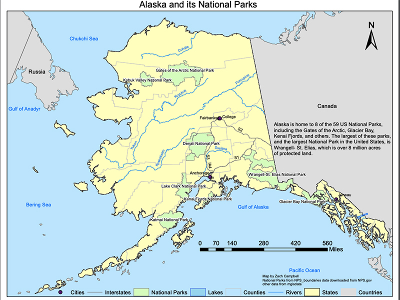 Example of student work includes a map of Alaska