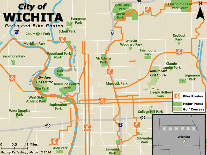 Example of student work includes a map of Wichita.
