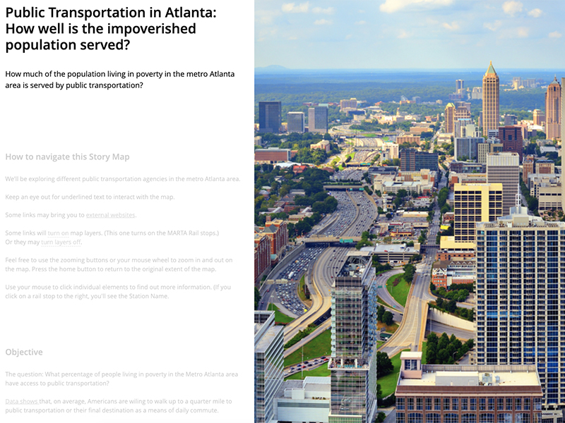 Example of student work includes an image of the Atlanta skyline