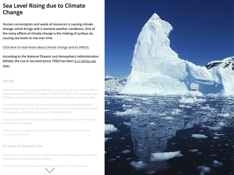 Example of student work includes an image of an iceberg.