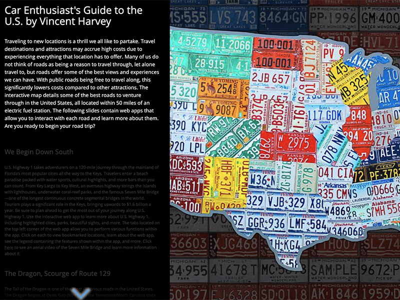Example of student work includes an image of state license plates in the shape of the United States.