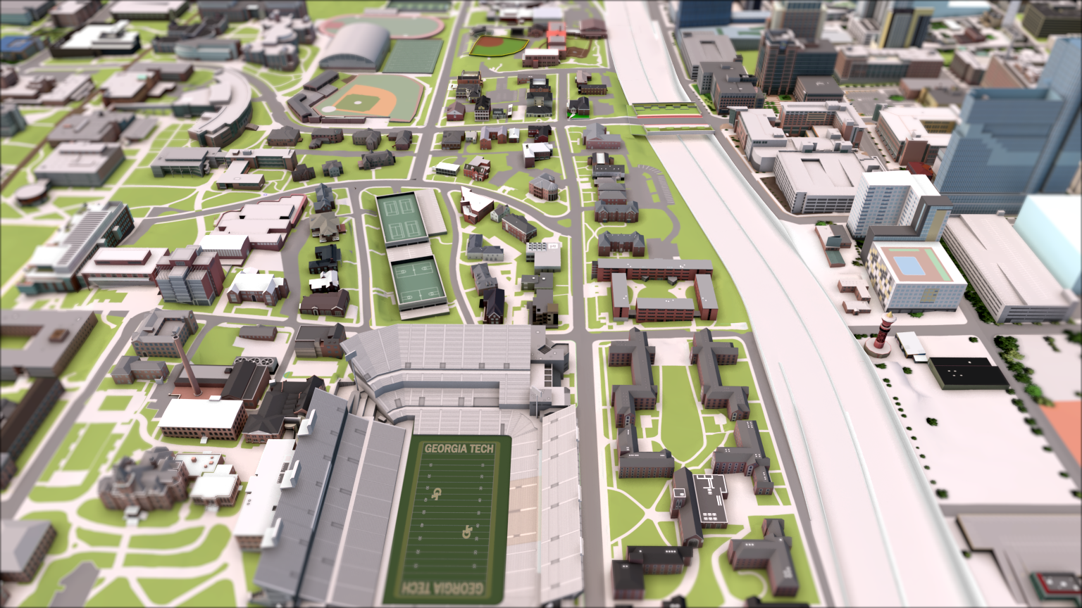 Rendered view of the GT campus with the stadium and highway