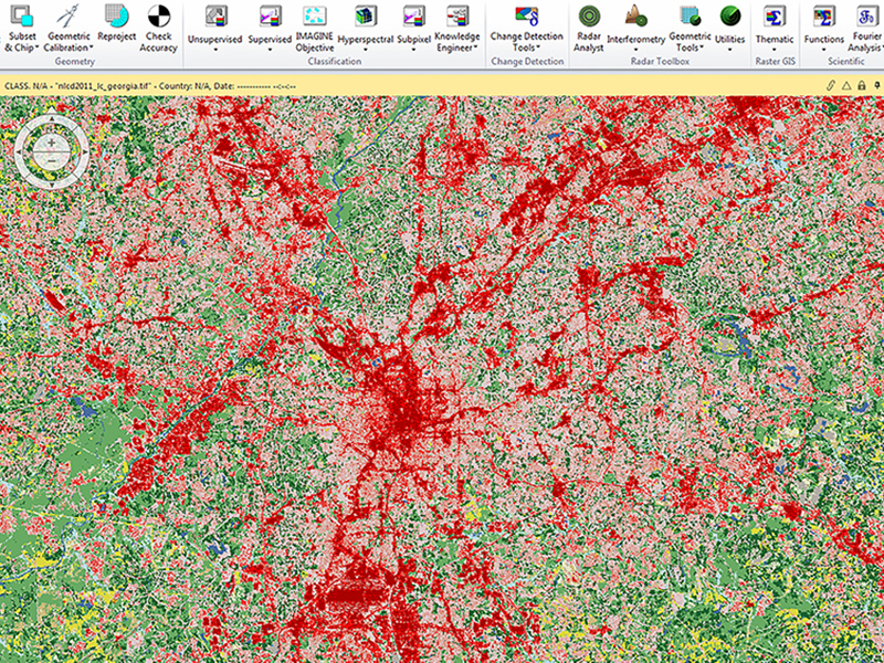 A screen shot of the land cover tool.